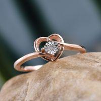 Heart Shape Diamond Promise Ring in Rose Gold Overlay ...