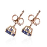 1 Carat AA Tanzanite Solitaire Stud Earrings 9K Yellow