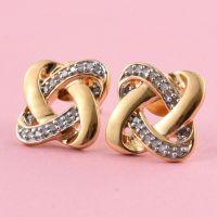 0.15 Carat Diamond Knot Stud Earrings in 14K Gold Overlay