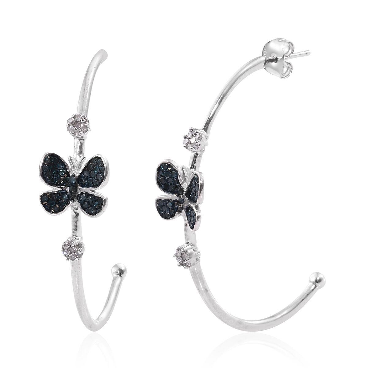 Blue Diamond Rnd White Diamond Butterfly Earrings with
