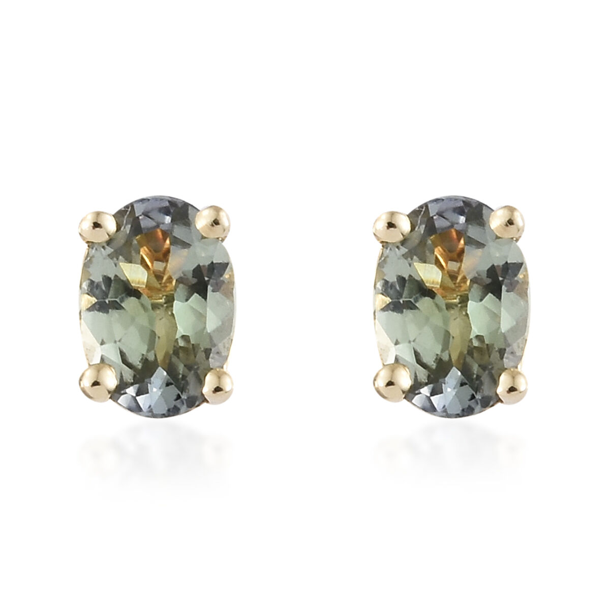 1 Carat AA Green Tanzanite Solitaire Stud Earrings in 9K