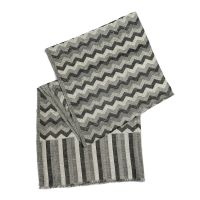 100% Cashmere Wool Black, Grey and White Colour Chevron ...