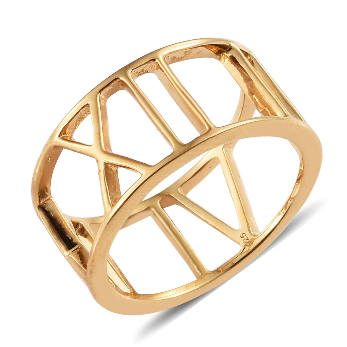 Roman Number Band Ring in Gold Plated 925 Sterling Silver
