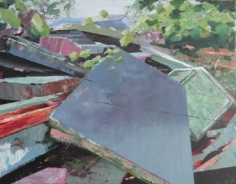 Achter in de tuin stapelt de rotzooi zich op. 2014. acryl op katoen. 35 x 45 cm