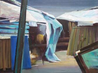 De bewoners zijn niet thuis. 2016. acryl op katoen. 70 x 90 cm