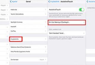 iPhone Sanal Tuş ile Ana Menüye Dönme Yöntemi
