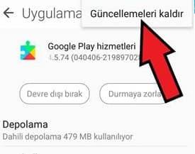 Google Play Hizmetleri durduruldu hatası çözümü 15