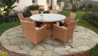 Laguna 60 Inch Outdoor Patio Dining Table with 6 Chairs w ...