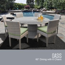Oasis 60 Outdoor Patio Dining Table With 6 Armless Chairs