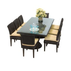 8 Chair Square Dining Table Oversized Patio Chairs Venice Rectangular Outdoor With