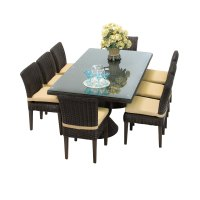 Venice Rectangular Outdoor Patio Dining Table with 8 ...