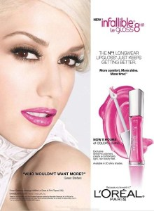 A beautiful woman with a pink lipstick