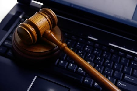judges court gavel on a laptop computer