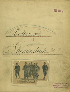 "1st Violin musical part for ""Shenandoah"", a musical by James Lee Barrett, Gary Geld, Phillip Rose, and Peter Udell. (date unknown)"