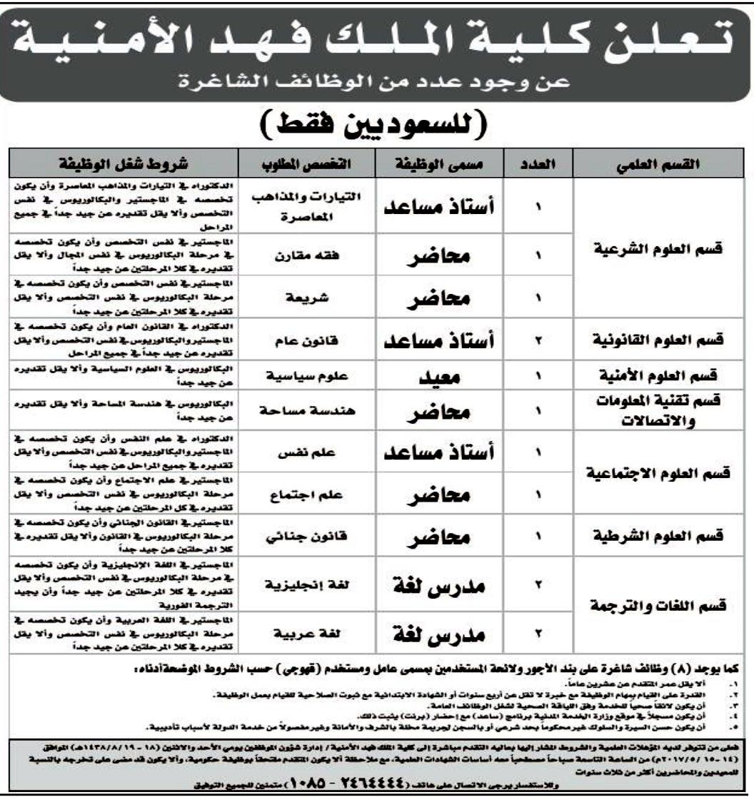 كلية الملك فهد الأمنية تعلن عن توفر 22 وظيفة شاغرة