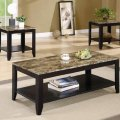 3pc coffee table amp end table set faux marble top espresso finish