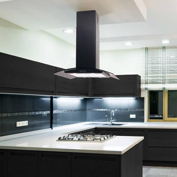 70cm Curved Glass Island Cooker Hood  Black with LED Lights