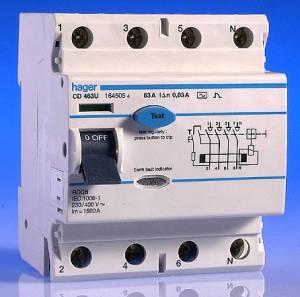 63 Amp 30mA RCD 4 Pole  Hager