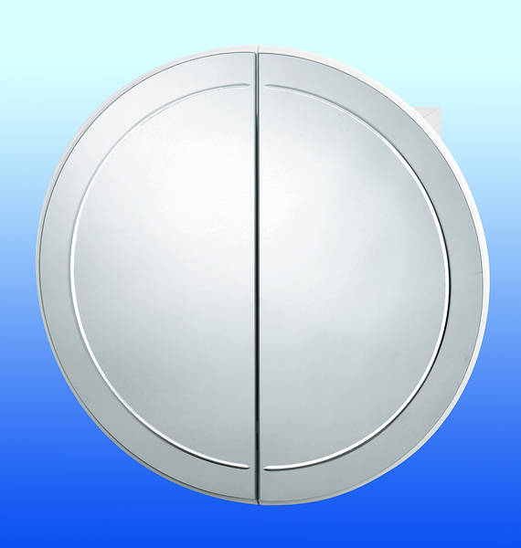 Versailles Round Bathroom Cabinet  White with Mirrored Doors