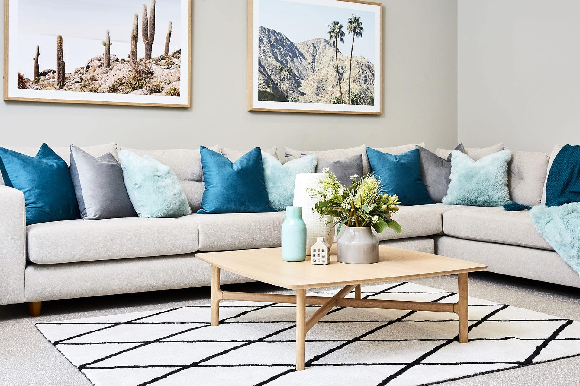 teal decorating ideas for living room holder super affordable spring inside and out lorraine lea mint cushions on sofa from tlc interiors
