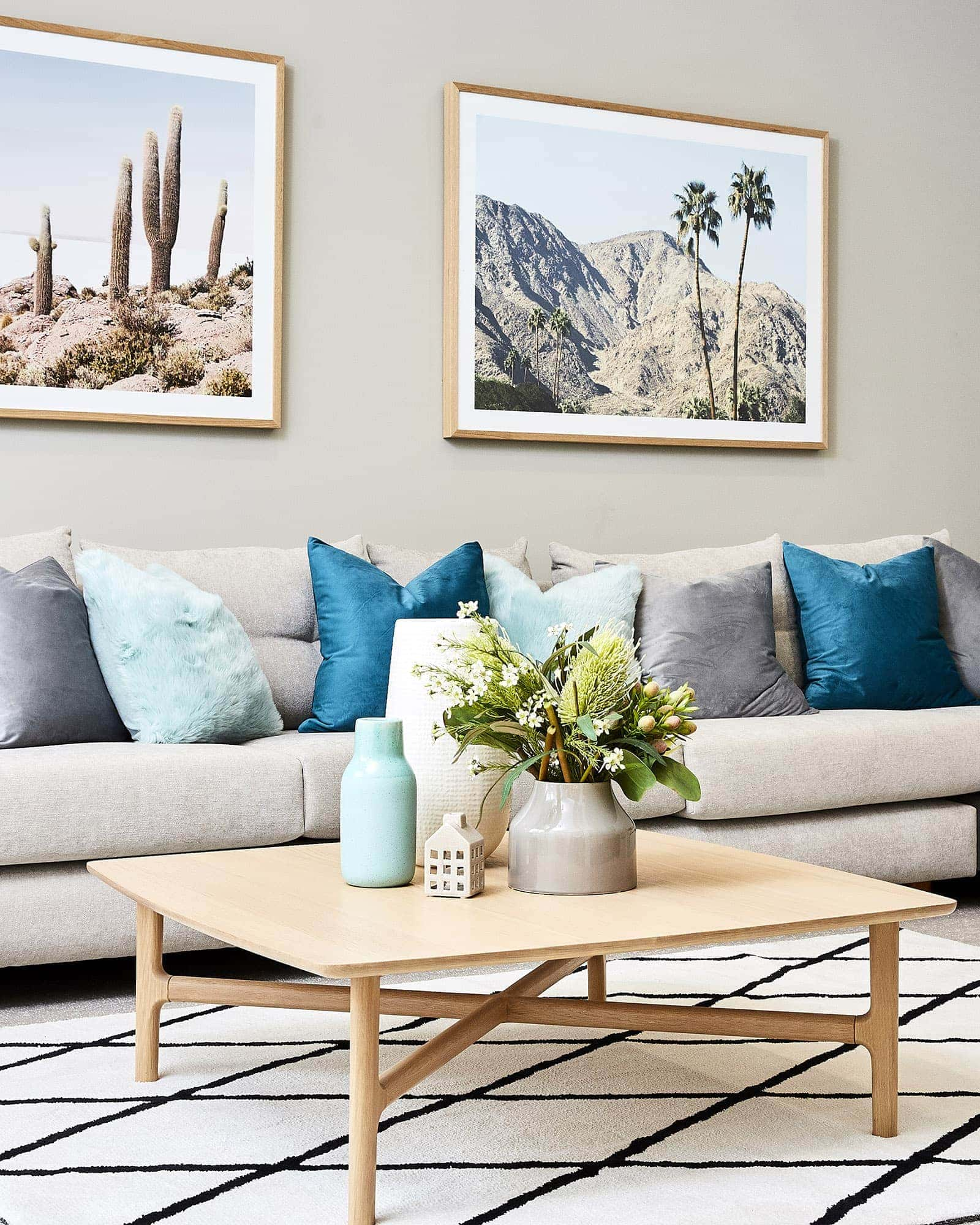 cushions living room family design ideas super affordable spring decorating for inside and out oak coffee table in with desert artwork teal from lorraine lea