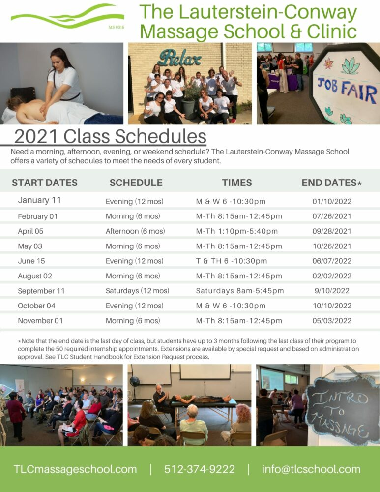 Massage Therapy Training Schedules 2021