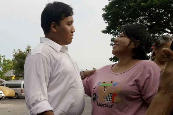 Miss Patnaree (right), mother of Mr Sirawith Seritiwat (aka Ja New), released on bail