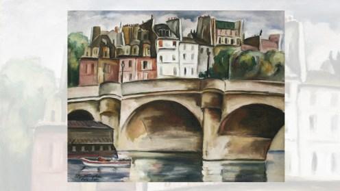 """lucrarea artistului Tache Papatriandafil (1903 - 1951), """"Pont-Neuf"""""""