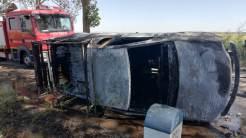 Incendiu autovehicul în județul Tulcea. FOTO ISU Tulcea