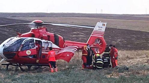 Doi răniți grav, într-un accident rutier produs între localitățile Baia și Panduru. FOTO ISU Tulcea