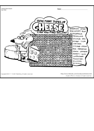 Cheese Lovers Word Search Puzzle