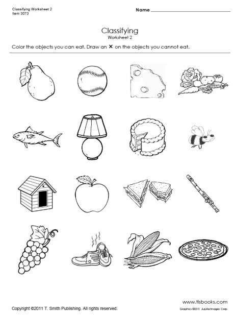 Food and Non-Food Classifying Worksheet 2
