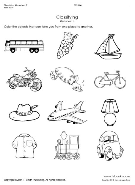 Transportation Classifying Worksheet 3