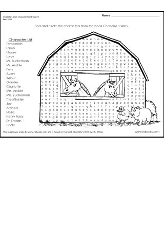 Charlotte's Web Character Word Search Puzzle