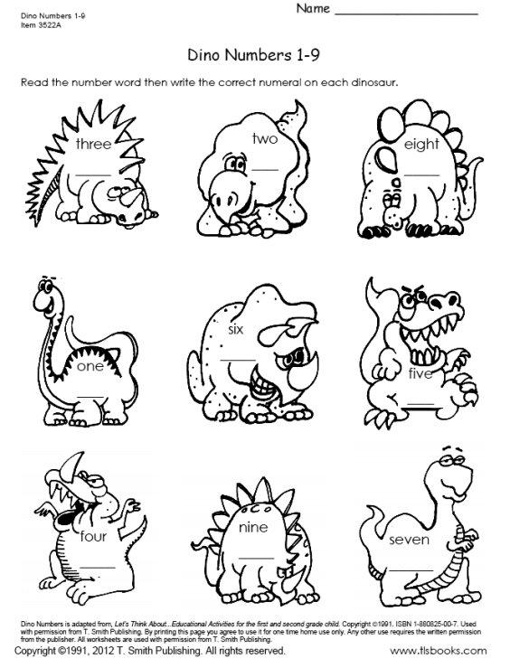 Dinosaur Numbers 1-18