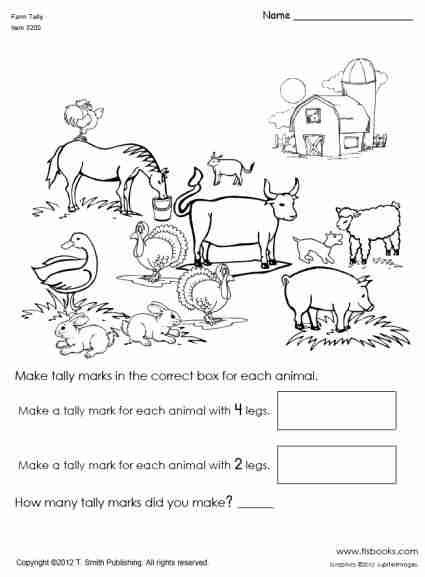 Farm Animal Tally Mark Worksheet