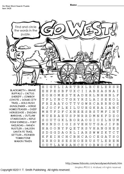 Go West Word Search Puzzle
