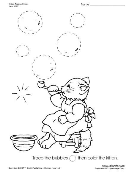 Kitten Tracing Circles