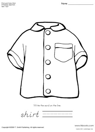 Print and Color Shirt with a D'Nealian Style Font