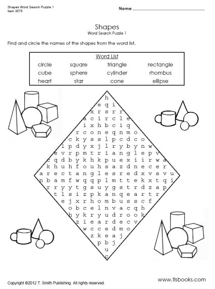 Shapes Word Search Puzzle 1