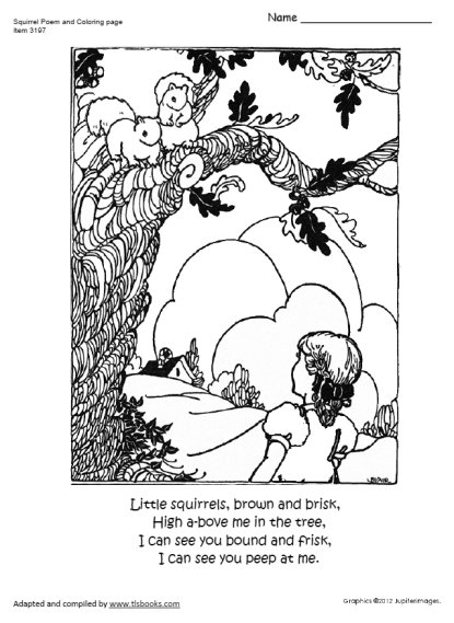 Squirrel Poem and Coloring Page