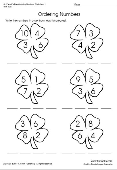 Saint Patrick's Day Ordering Numbers Worksheet 1