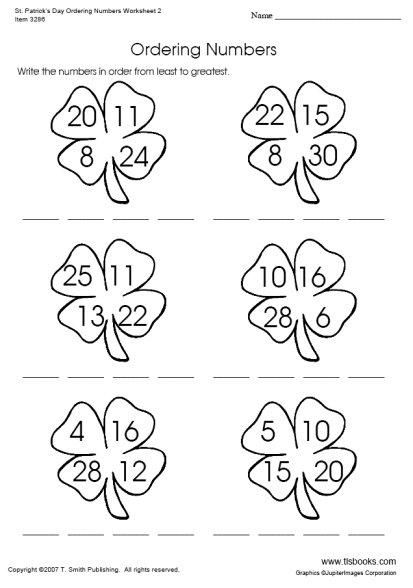Saint Patrick's Day Ordering Numbers Worksheet 2