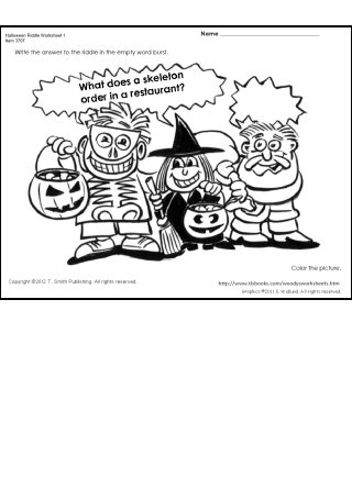 Halloween Riddle and Coloring Page
