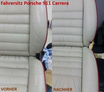 Porsche 911 Carrera Fahrersitz Einstiegswangen VORHER - NACHHER Lederprofi bei Fahrzeugpflege Massler