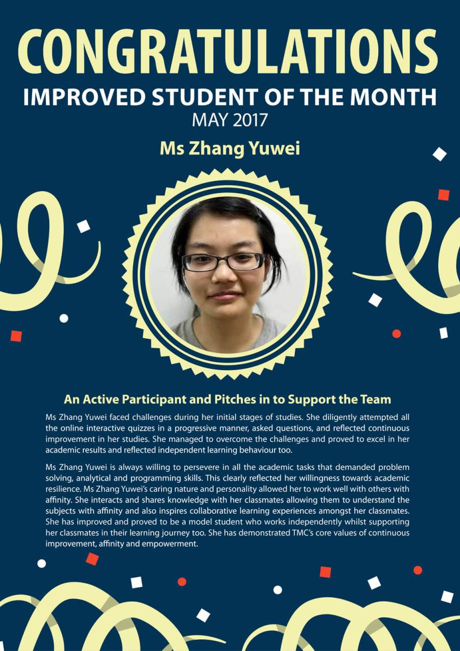Ms Zhang Yuwei - TMC Improved Student of the Month May 2017