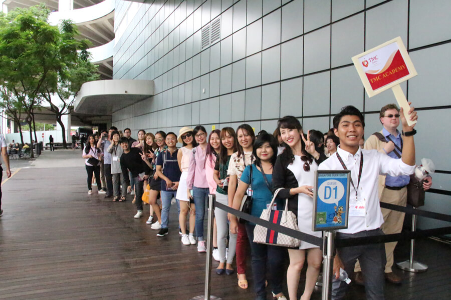 Lining Up For Duck Tour @ Agent Conference Raffles City