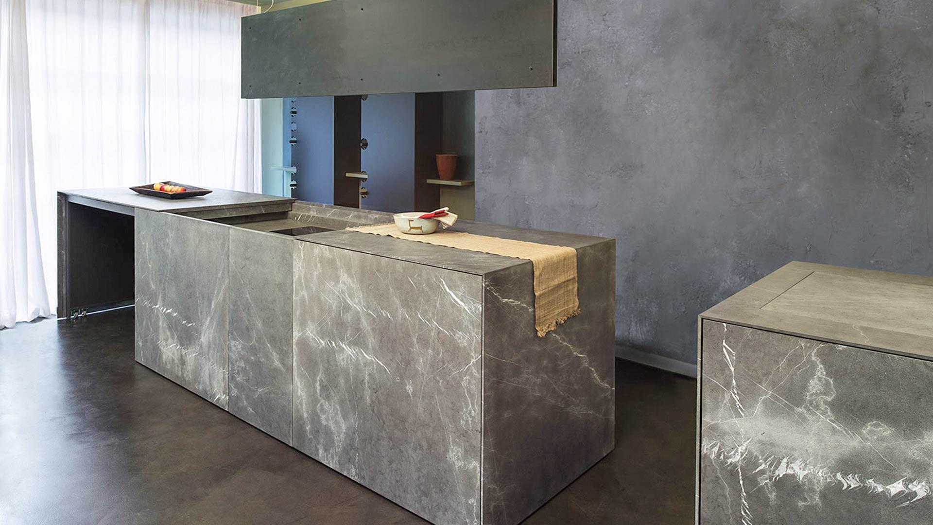 interesting cucina monoblocco a scomparsa in pietra with cucine a scomparsa