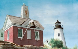 Lighthouse Watercolor by David G Jones