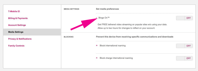 Here's how to disable Binge On using the T-Mobile app and